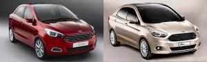 Figo (e), na Índia, pouco mais curto que o Ka Concept sedã, no Brasil