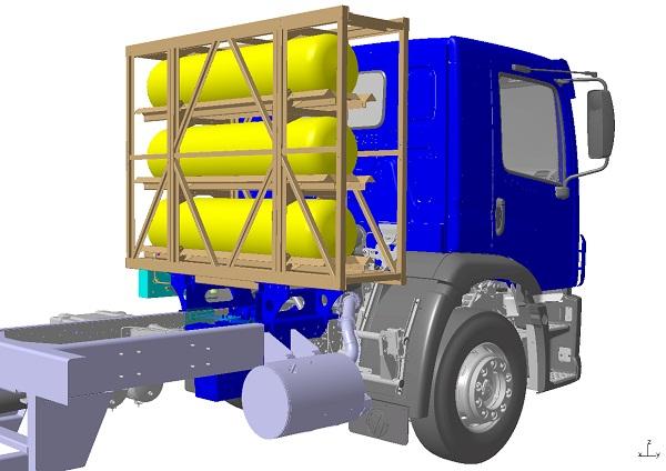 02)Gás natural diminuiu as emissões sonoras, e sua armazenagem junto à cabine não alterou a capacidade de carga útil.