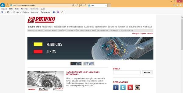 A tela inicial do novo site da Sabó