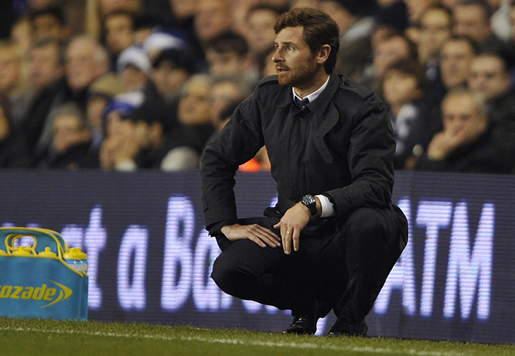 Chelsea's manager Villas-Boas looks on during their English Premier League soccer match against Tottenham Hotspur in London