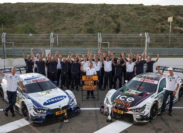 Marco Wittmann e a equipe comemorando o título da DTM.