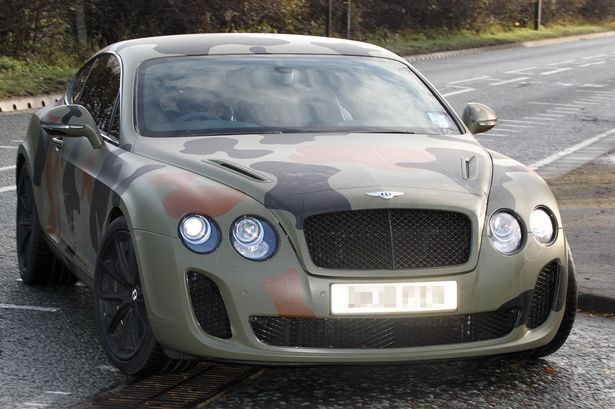Mario Balotelli is seen out and about in his Bentley car in Cheshire