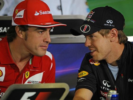 """""""Viu como meu salário é maior que o teu, Alonso?"""", deve ter sido a pergunta de Vettel para o espanhol."""